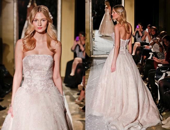 abito da sposa rosa cipria di Oleg Cassini