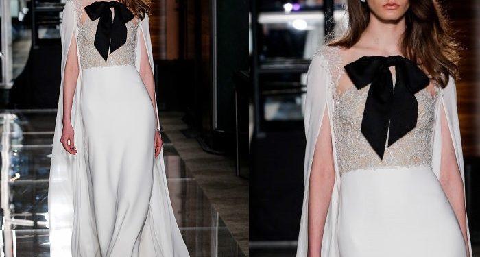 Reem Acra abito sposa bianco fiocco nero 2018