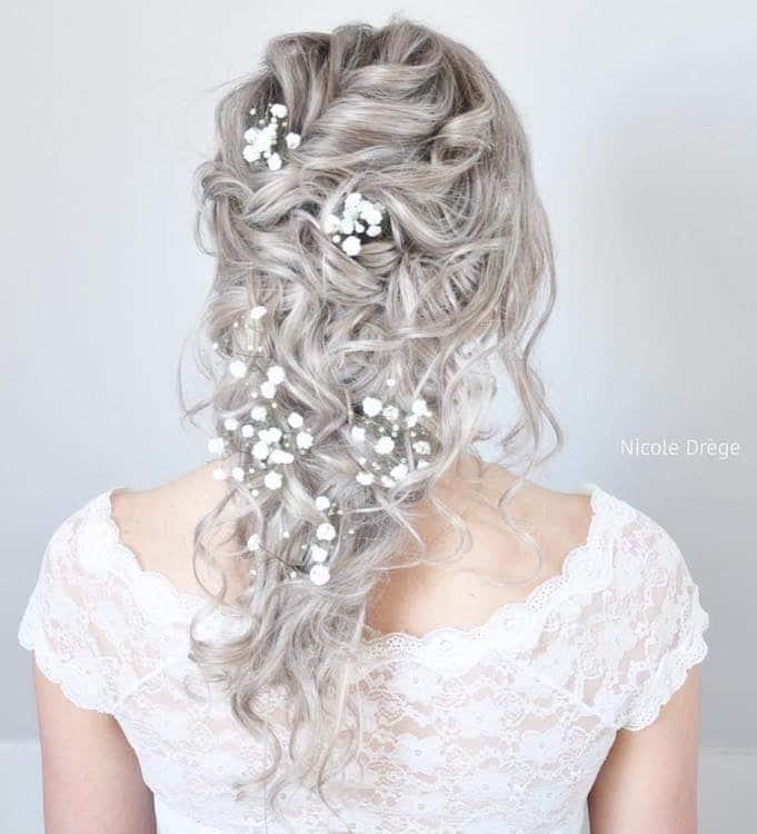 acconciatura capelli grigi sposa 2018