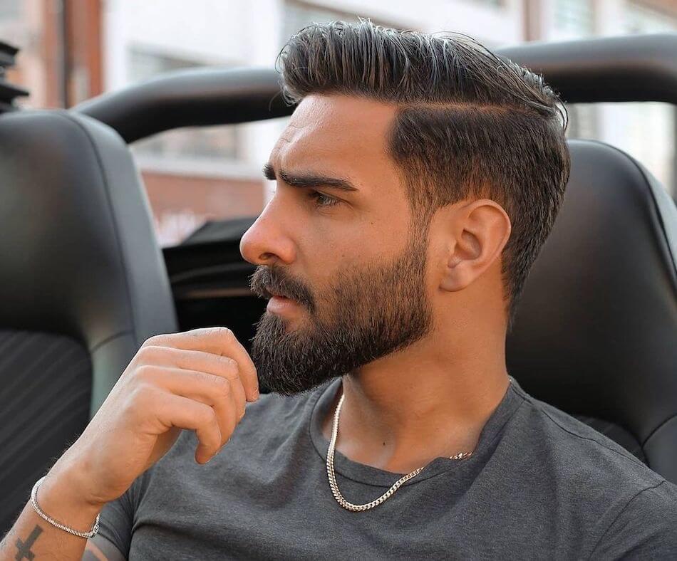 Barba lunga capelli corti uomo 2021
