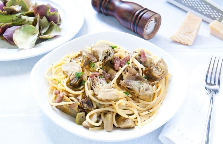 Ricetta Spaghetti con carciofi e pancetta