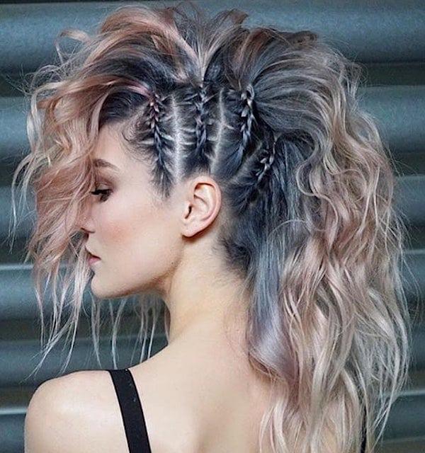 acconciature capelli colorate trecce-2019