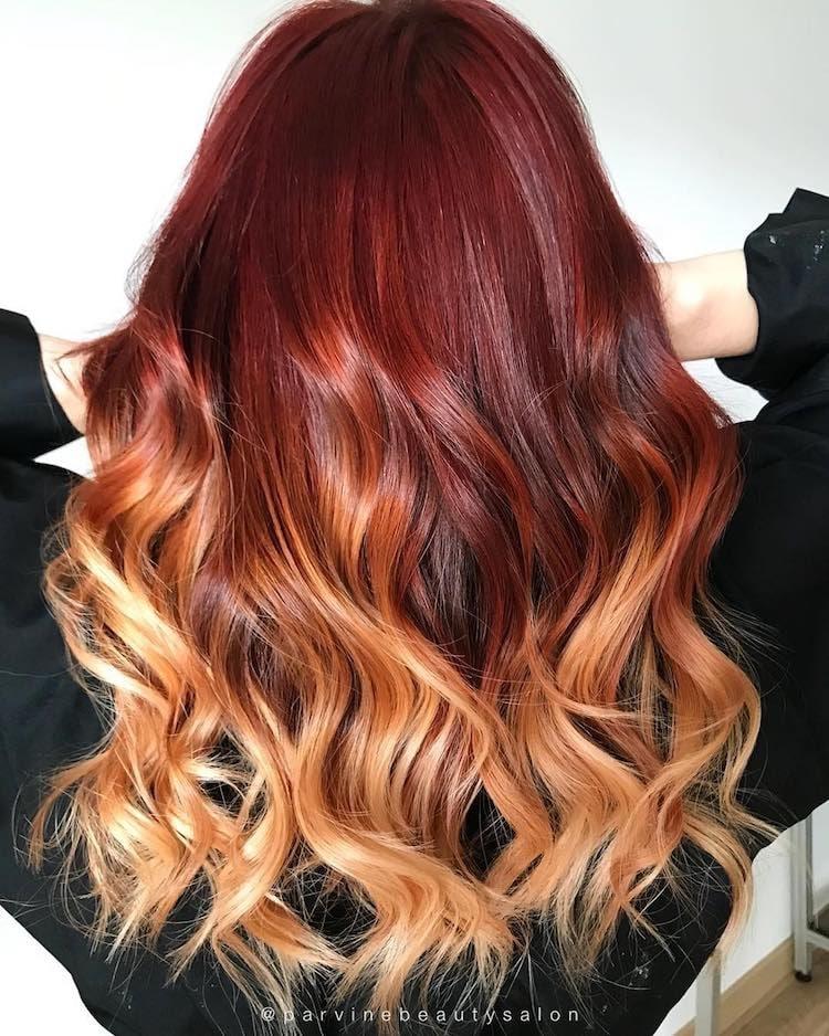 balayage capelli lunghi rossi biondi
