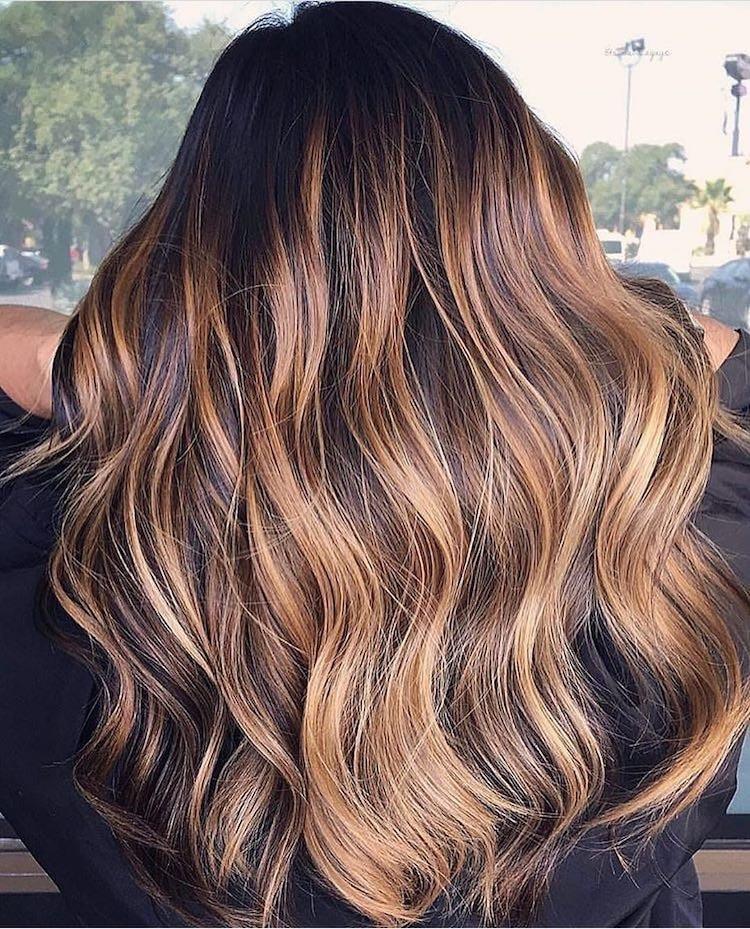 balayage ramato capelli castani inverno 2019