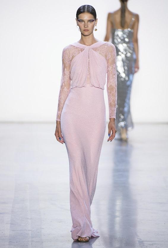 abito lungo rosa elgante 2019