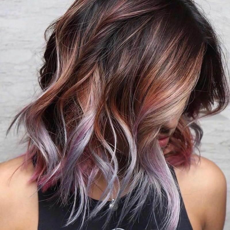 ciocche colorate capelli scuri estate 2019