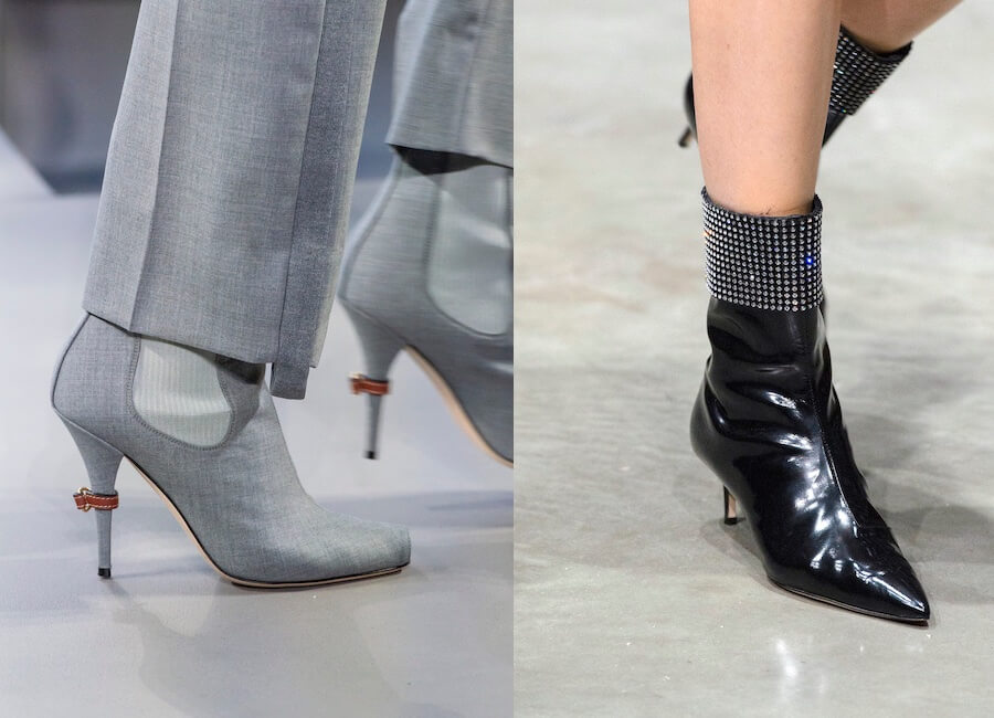 Stivaletti stivali estivi nero trasparente tacco 12 cm pelle
