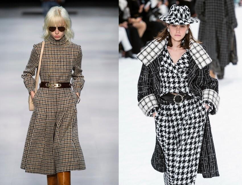 abiti Pied de poule Chanel Celine moda 2019-2020