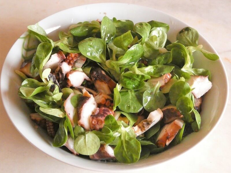 insalata polpo verdure crude e cotte