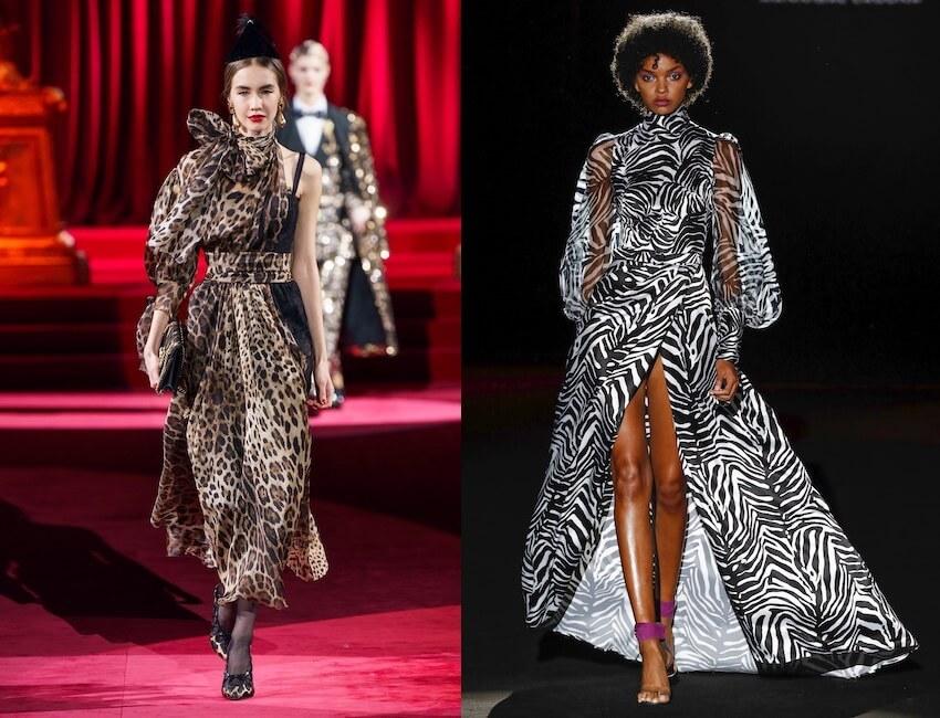 moda inverno 2010 abiti con stampa animalier e zebrata