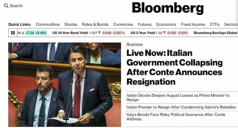 bloomberg crisi governo Italia-2019