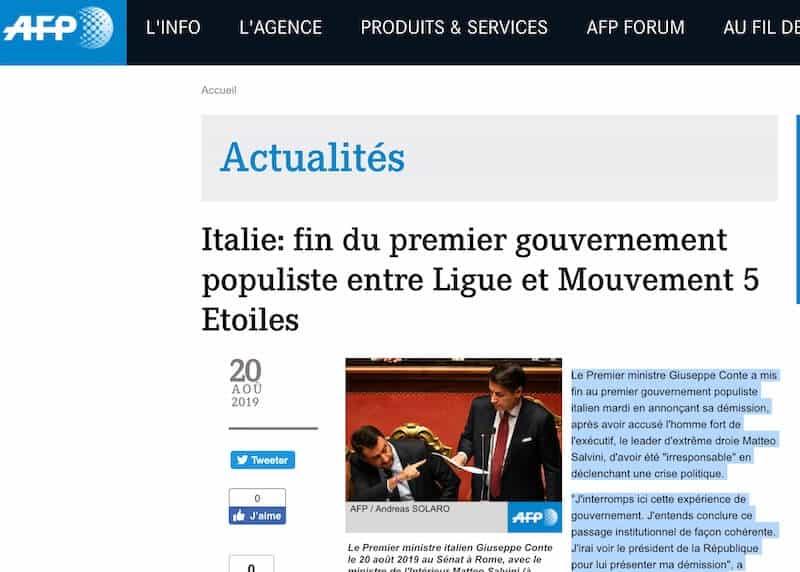 france press Italia Crisi di governo 2019