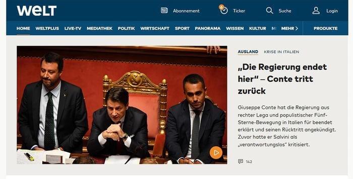Governo: le dimissioni di Conte breaking news nel mondo