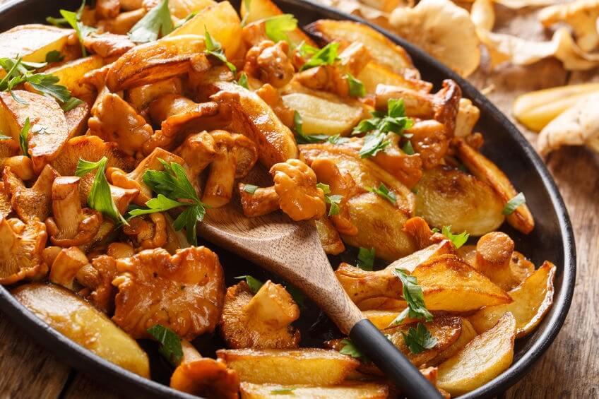 Funghi gallinacci fritti con patate