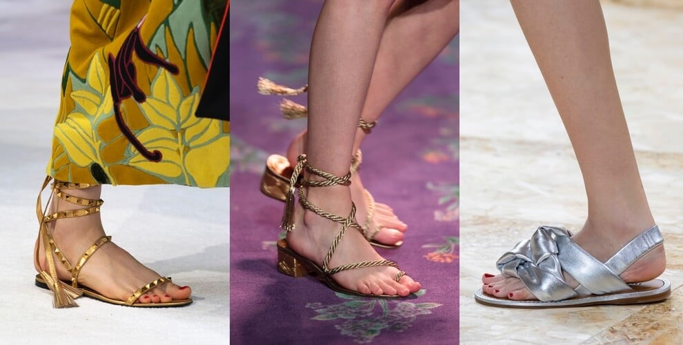 sandali bassi estate 2020 dorati argento