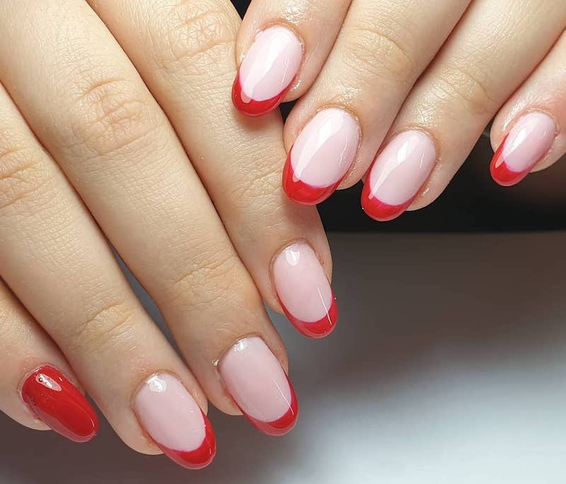gel nail art french manicure rosa rosse inverno 2019