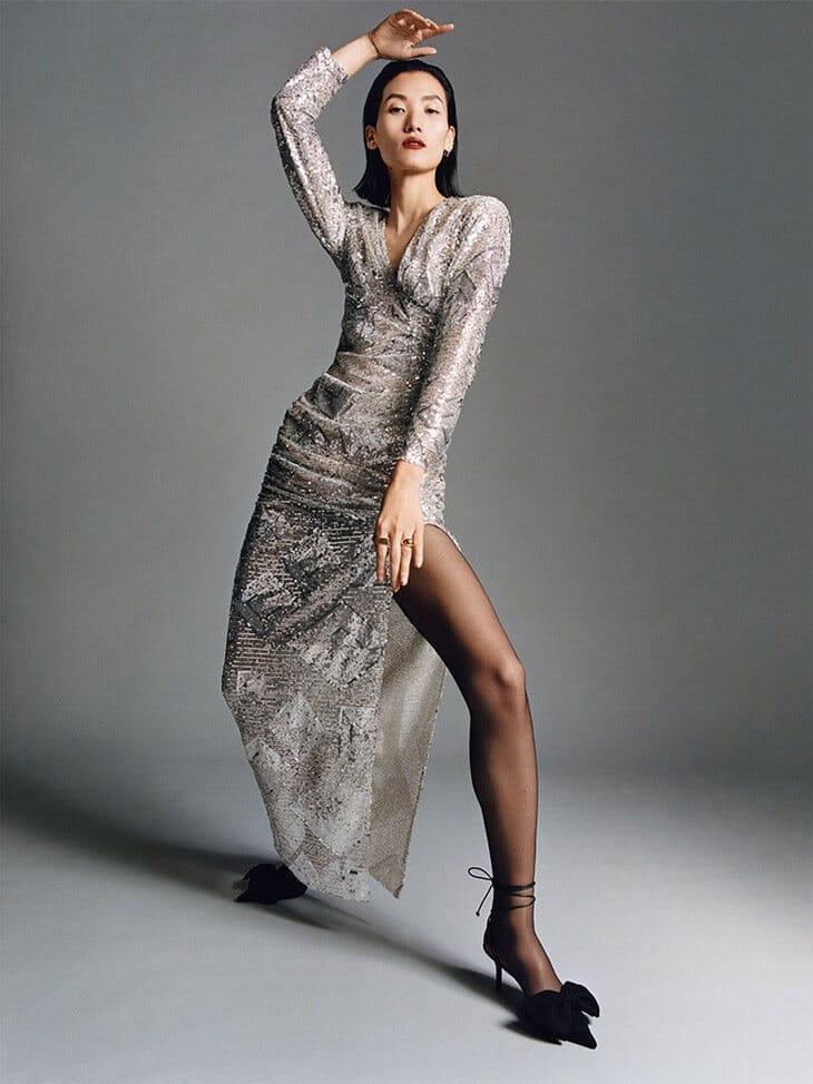 Zara-abito argento inverno 2020