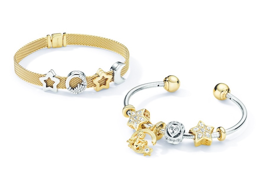 bracciale pandora oro e argento