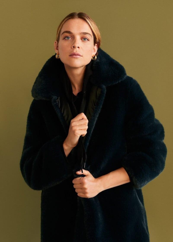 pelliccia ecologica blu inverno 2020 mango