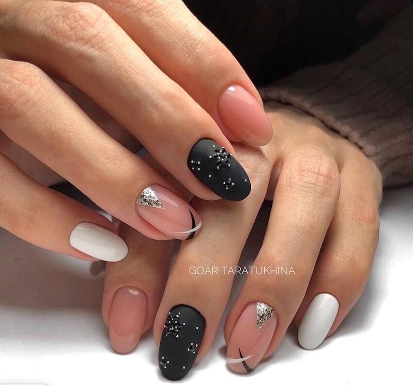 unghie gel rosa nere nail art inverno2020