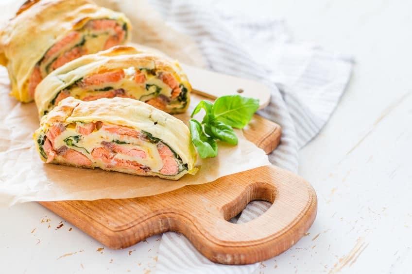 strudel salmone e spinaci