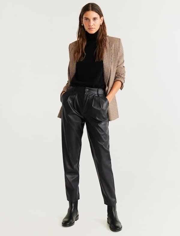 mango saldi 2020 pantaloni pelle-