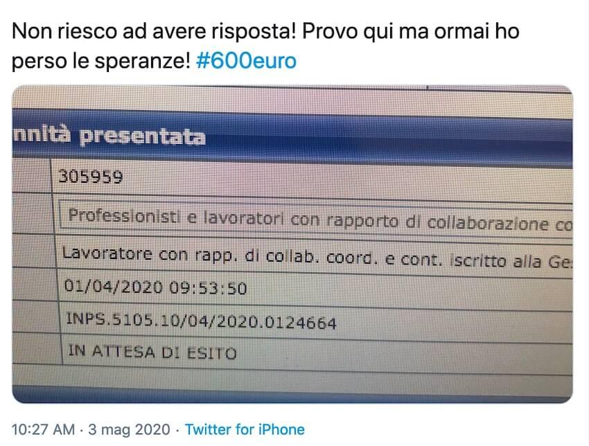twitter Inps 600 euro marzo