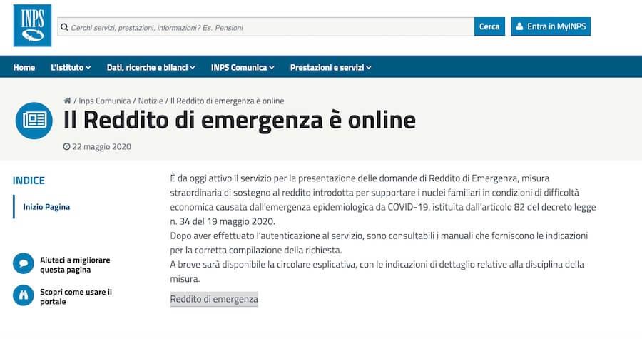 reddito emergenza Inps