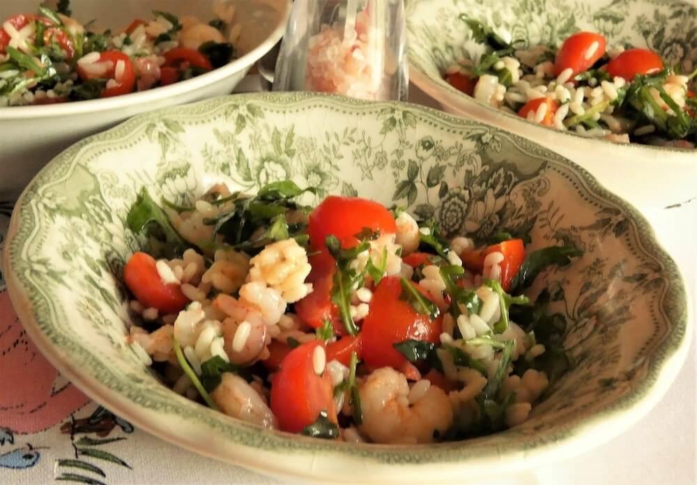 riso freddo insalata di riso con gamberi