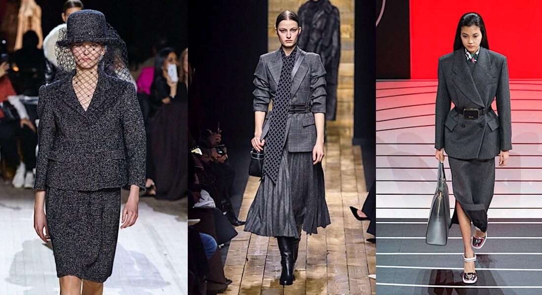 colori moda inverno 2021 tailleur grigi