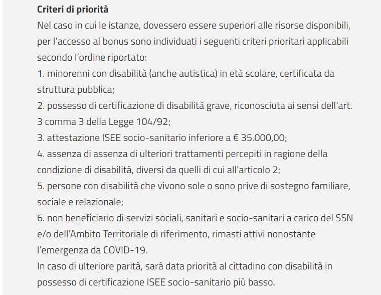 Criteri graduatorie assegnazione bonus disabili regione Campania