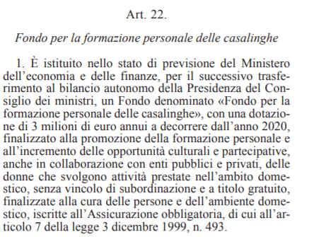 fondo casalinghe disoccupate decreto agosto articolo 22