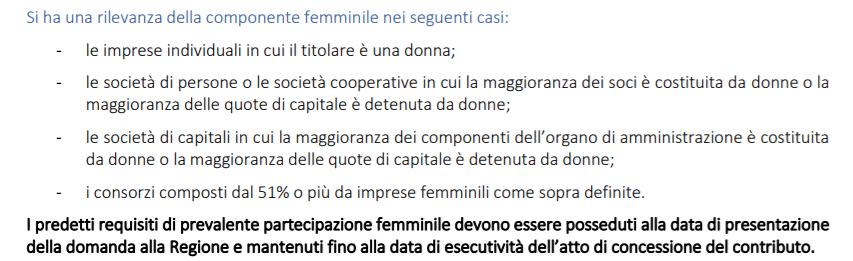 finanziamenti imprese femminili Emilia requisiti bando 2021